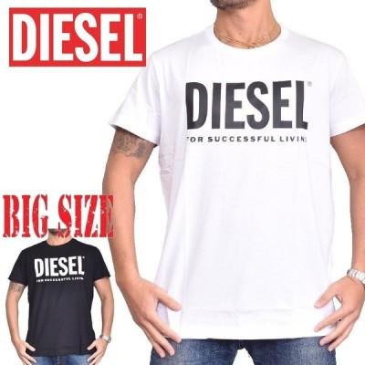 大きいサイズ メンズ ディーゼル Diesel 半袖 クルーネック Tシャツ T-DIEGO-LOGO [M便 1/1] 黒 白 XXL XXXL