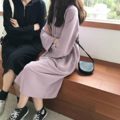 韓国 ファッション レディース ワンピース パーカー スウェット 大きいサイズ ワンピ ロング 長袖 ゆったり シンプル カジュアル 春