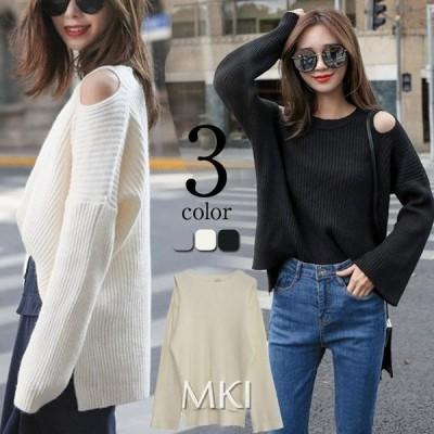 韓国ファッション 大人の本格派ゆるニット 畦編み ニット レディースざっくりルーズニットトップスハイネック オフタートルネック あったか ゆったり