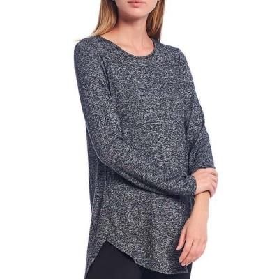 カルバンクライン レディース カットソー トップス Knit Jersey Long Sleeve Hi-Low Tunic Heather Charcoal