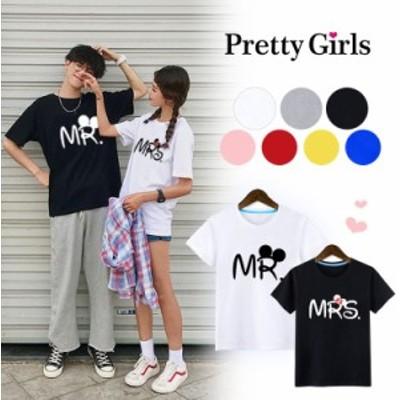 Tシャツ ミッキー プリント ディズニー 半袖 二枚以上送料無料 カップル ペアルック tシャツ トップス 半袖tシャツ キャラクター  ペアル