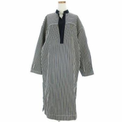 【中古】ビューティフルピープル cotton linen stripe pullover shirt dress ワンピース 1925104002 ネイビー 36