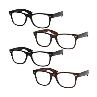 4 Pairs Deluxe Reading Glasses - Standard Fit One Size - Spring Hinge Reade