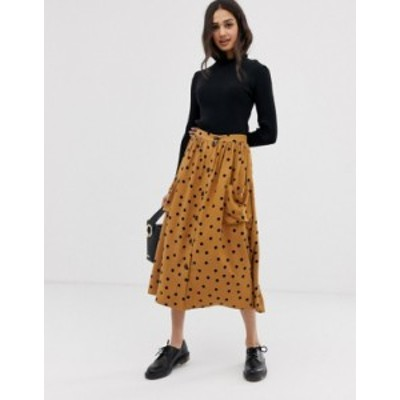 エイソス レディース スカート ボトムス ASOS DESIGN button front midi skirt in polka dot with oversized pockets Brown/black