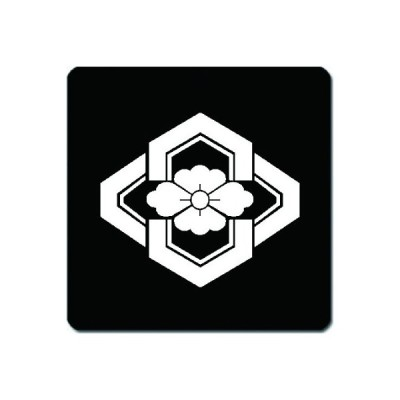 家紋シール 白紋黒地 木瓜形亀甲 10cm x 10cm KS10-2947W