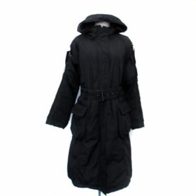 【中古】プラネットリミックス コート ダウン ロング丈 フード付き ウエストベルト付き 3 黒 ブラック レディース