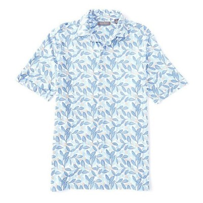 ダニエル クレミュ メンズ シャツ トップス Daniel Cremieux Signature Leaf Print Cotton Short-Sleeve Knit Camp Shirt