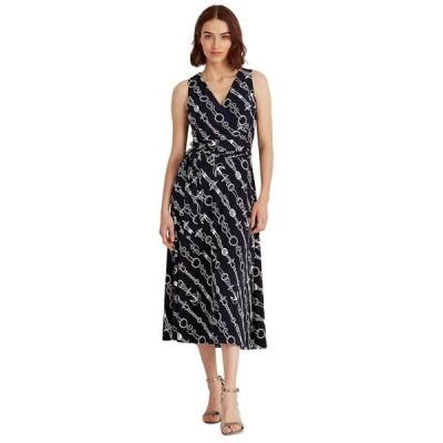ラルフローレン ワンピース トップス レディース Print Tie-Waist Jersey Dress, Regular & Petite Sizes Navy Blue/White