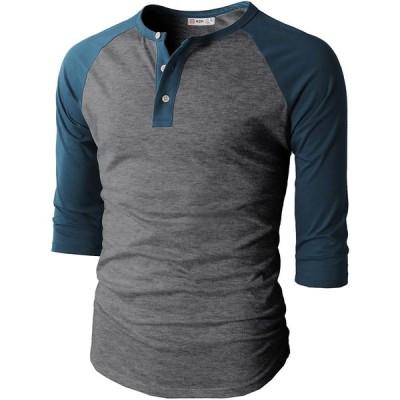 【H2H】ベーシック メンズ カジュアル ファッション オシャレ カラー ヘンリーネック 七分袖 ティーシャツ CMTTS0174-CHARCOALB