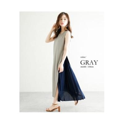 【la-gemme】サイドプリーツ切替ノースリーブワンピース (ワンピース)Dress