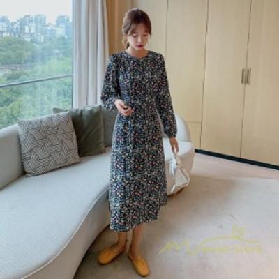 ワンピース レディース 40代ワンピース きれいめ 長袖 韓国ファッション 上品 着痩せ 通勤 結婚式 お出かけ 大人 20代30代 花柄 クルーネ