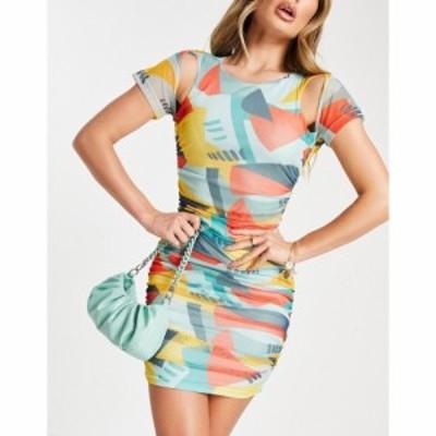 エイス アワー EI8TH HOUR レディース ワンピース ミニ丈 ワンピース・ドレス Ei8th Hour mesh mini dress in geometric print マルチカ