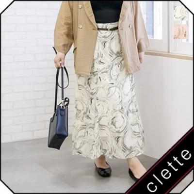 大きいサイズ/レディース/3L/4L/5L/ベルト付マーブル柄フレアスカート