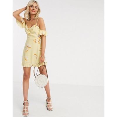 ジリ レディース ワンピース トップス Gilli mini dress with cold shoulder detail in yellow floral