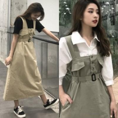 ジャンパースカート レディース 春 夏 ロング 韓国 ファッション 春服 レディース サロペットスカート ウエストベルト 前ボタン ポケット