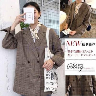 グレンチェックレディーステーラードジャケットロングジャケットライトアウターレディースファッション羽織り物体型カバーダブルボタンルーズ