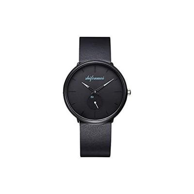 ミニマリストメンズウォッチ アナログクォーツ 日本製ムーブメント ファッション カジュアル腕時計 メンズ ビジネス レトロ 本革バンド メンズ ブラッ