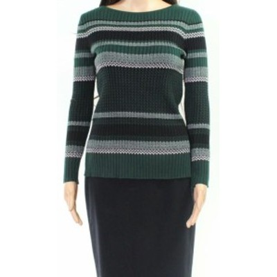 ファッション トップス Emaline NEW Green Womens Size Small PS Petite Striped Ribbed Knit Top
