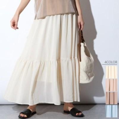 【2020春夏】【4カラー M】シフォン素材の軽やかなティアードスカート♪ フレアスカート ロング丈 シンプル 無地 ウエストゴム シフォン