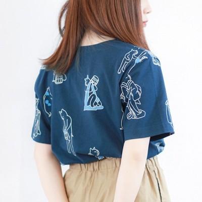 kurofuneTシャツ・湯浴み猫・紺・京都くろちく 本店