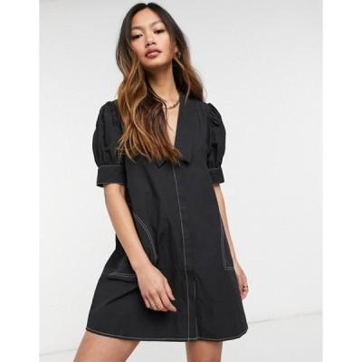 ロストインク レディース ワンピース トップス Lost Ink mini dress with v-neck collar and contrast stitch