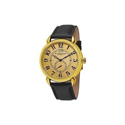 ストゥーリングオリジナル 腕時計 Stuhrling 50E Eternity スイス Ronda クォーツ ゴールドtone ダイヤル ブラック レザー メンズ 腕時計