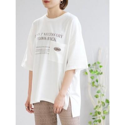 アンドジェイ ANDJ 刺繍メッセージロゴTシャツ (ホワイト)