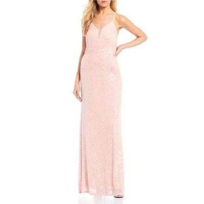 モルガン レディース ワンピース トップス Spaghetti Strap Plunging V-Neck Sequin Long Dress