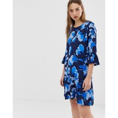 ミニマム ミディドレス レディース Minimum floral dress with fluted sleeves エイソス ASOS