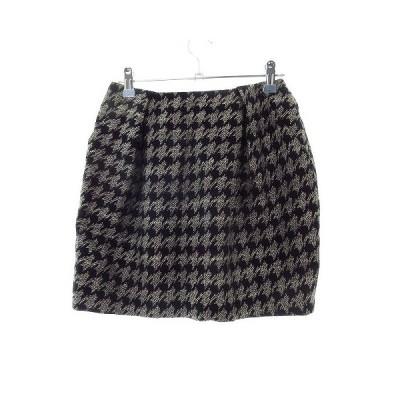 【中古】アーバンリサーチ URBAN RESEARCH スカート フレア ミニ 総柄 F 黒 ブラック /M2 レディース 【ベクトル 古着】