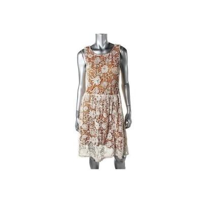 ドレス 女性  海外セレクション Maison Jules 1161 レディース ブラウン Lace Overlay ノースリーブ カジュアル ドレス M
