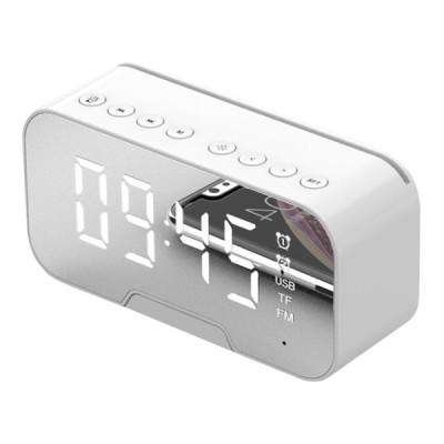 Bluetooth5.0スピーカーFMラジオミラーLED目覚まし時計USB充電器ホームホワイト