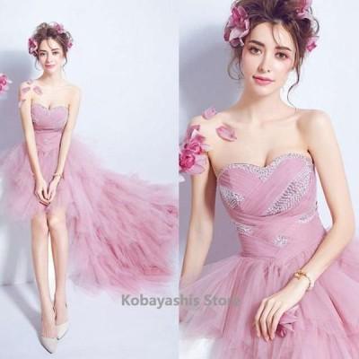 ピンクドレスパーティー結婚式ドレス花嫁ベアトップチュール前短後長お洒落パーティードレスウェディングドレス編み上げ