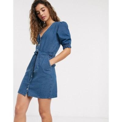 ミスセルフフリッジ レディース ワンピース トップス Miss Selfridge denim shirt dress in mid wash Blue