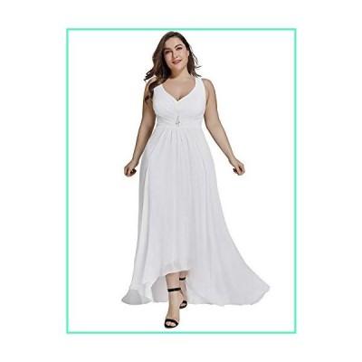 Women's V-Neck Bridesmaid Dress Evening Party Maxi Dress Plus Size White US20並行輸入品