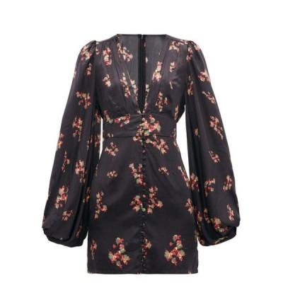 ラット&ボア Rat & Boa レディース パーティードレス ミニ丈 ワンピース・ドレス Stevie floral-print satin mini dress Black