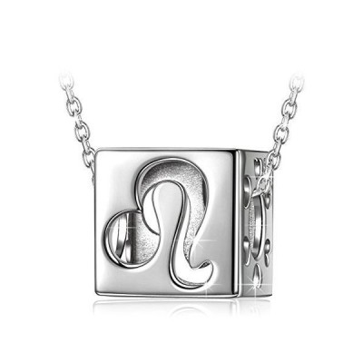 NINASUNシルバーS925製星座のネックレス獅子座純銀製キューブのペンダント レディースへバレンタインのプレゼント(化粧箱付き)