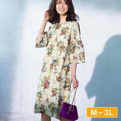 Ranan 【M~3L】チェック×花柄サックワンピース ソノタ 3L レディース