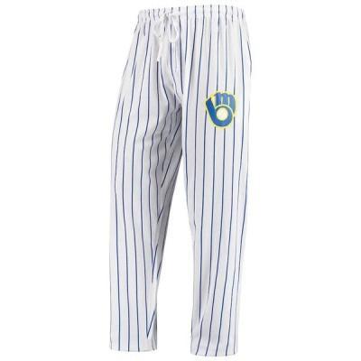 """メンズ パジャマ """"Milwaukee Brewers"""" Concepts Sport Vigor Lounge Pant - White/Navy"""