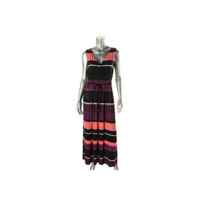 ドレス 女性  イヴァンカトランプ Ivanka Trump 6172 レディース マルチ Surplice ノースリーブ ストライプd Maxi ドレス M