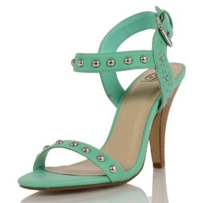 デリシャス レディース パンプス Delicious Women's Sirota Faux Leather Studded Open Toe Wide Strap Ankle Strap, White, 10 M US