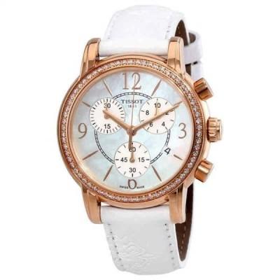 腕時計 ティソット Tissot Dressport White MOP Dial White Leather Ladies Watch T0502176711701