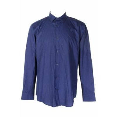 Alfani  ファッション アウター Alfani Blue Long Sleeve Collared Regular Fit Button Down Shirt XL