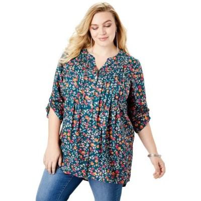 ユニセックス 衣類 トップス Roaman's Plus Size High-low Pintuck Tunic ブラウス&シャツ