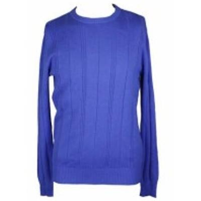 ファッション トップス John Ashford Blue Crew-Neck Striped-Texture Sweater XL