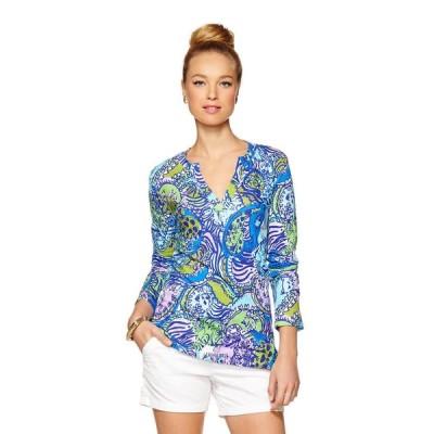 トップス リリーピュリッツァー Lilly Pulitzer ODETTE sweatshirt TUNIC Multi Cattitude Purple Blue XS S M