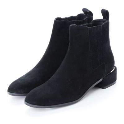 ヌエール nouer PECHINCHAR サイドゴアプリーツスウェードブーツ (ブラック)