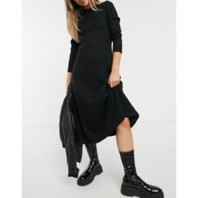 エイソス レディース ワンピース トップス ASOS DESIGN super soft midi swing dress with long sleeve in black Black