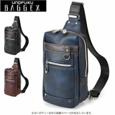 ボディバッグ メンズ  BAGGEX バジェックス やわらかフェイクレザー 多機能 シンプルワンショルダーバッグ