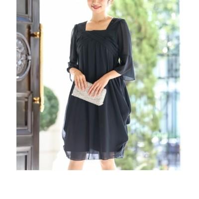 両脇ドレープシフォンワンピースドレス【結婚式・二次会・お呼ばれ対応】<大きいサイズ有> 【謝恩会・パーティドレス】Dress